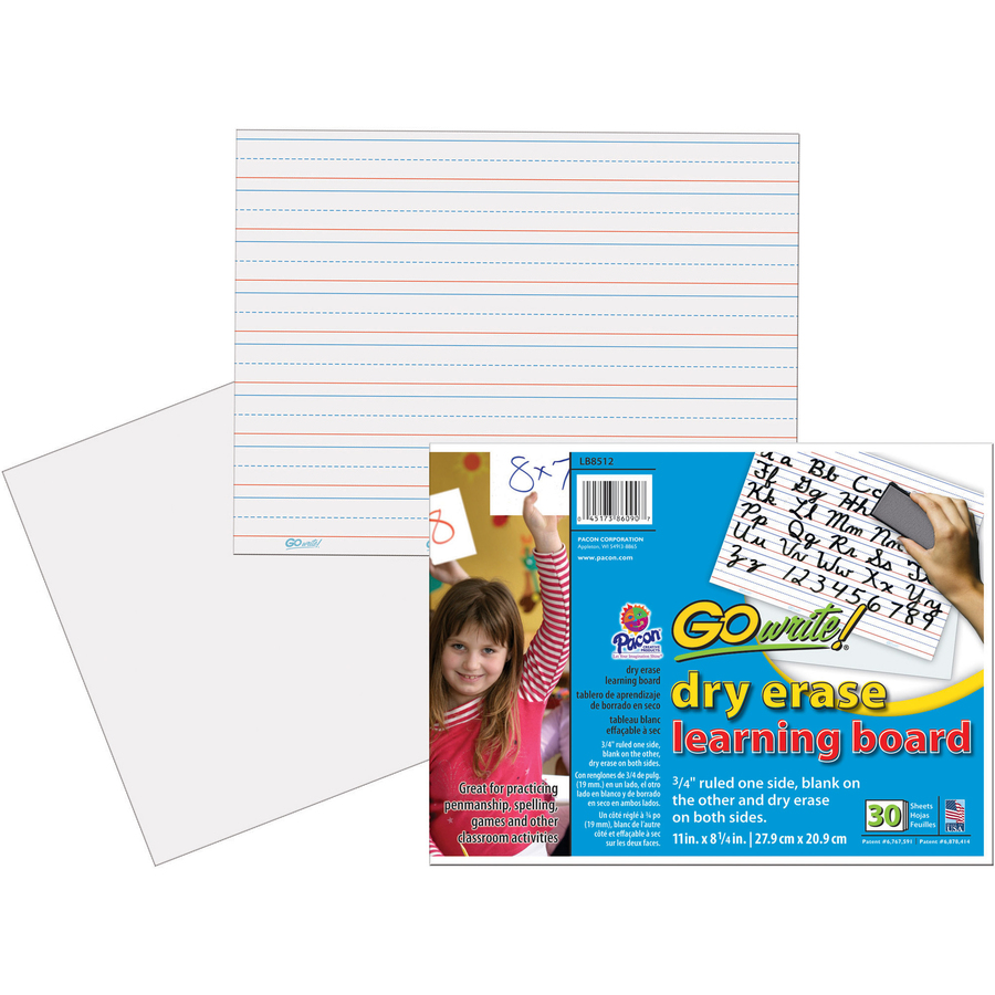GoWrite!® Dry Erase Learning Board - Dry-erase, Two-Sided, 3/4