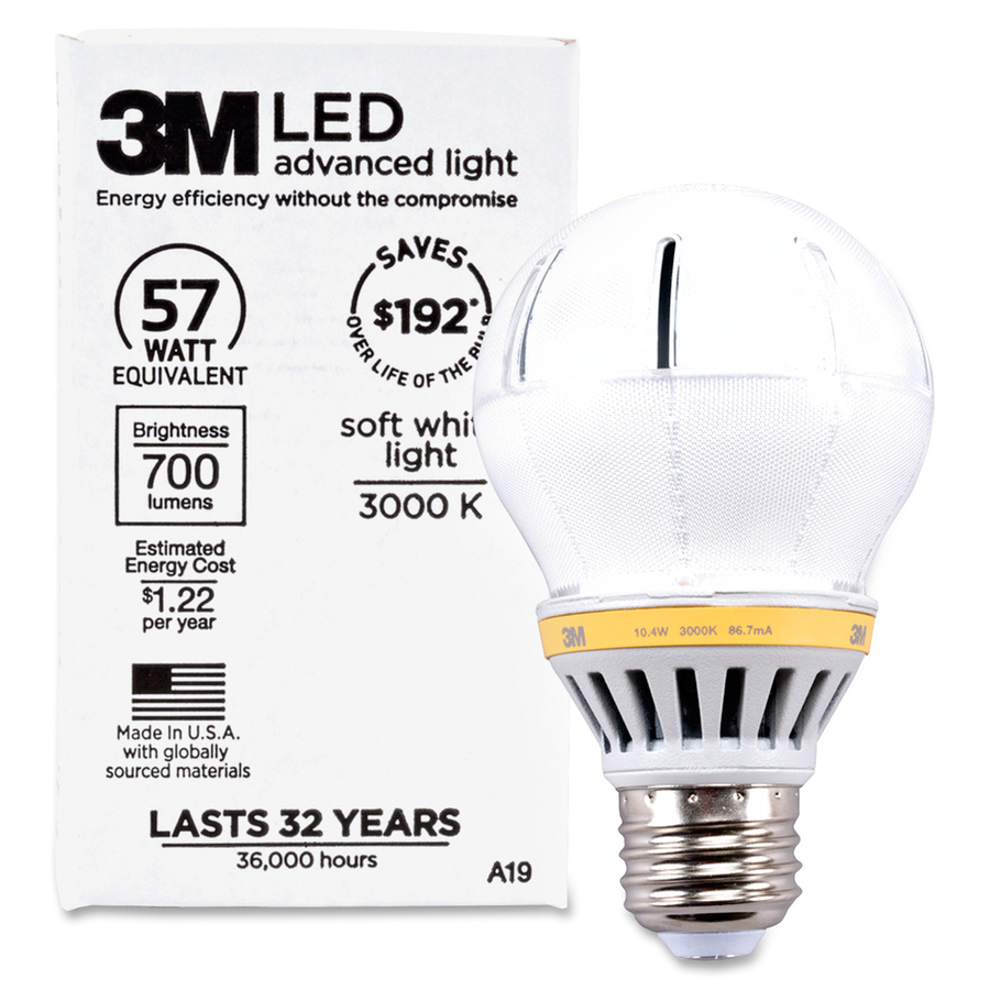 3M Commercial LED Advanced Light A19 RCA19C3, Soft White 3000K, 700 Lumens  Dimmable - 10 W - A19 Size - Soft White Light Color - Screw Terminal Base -