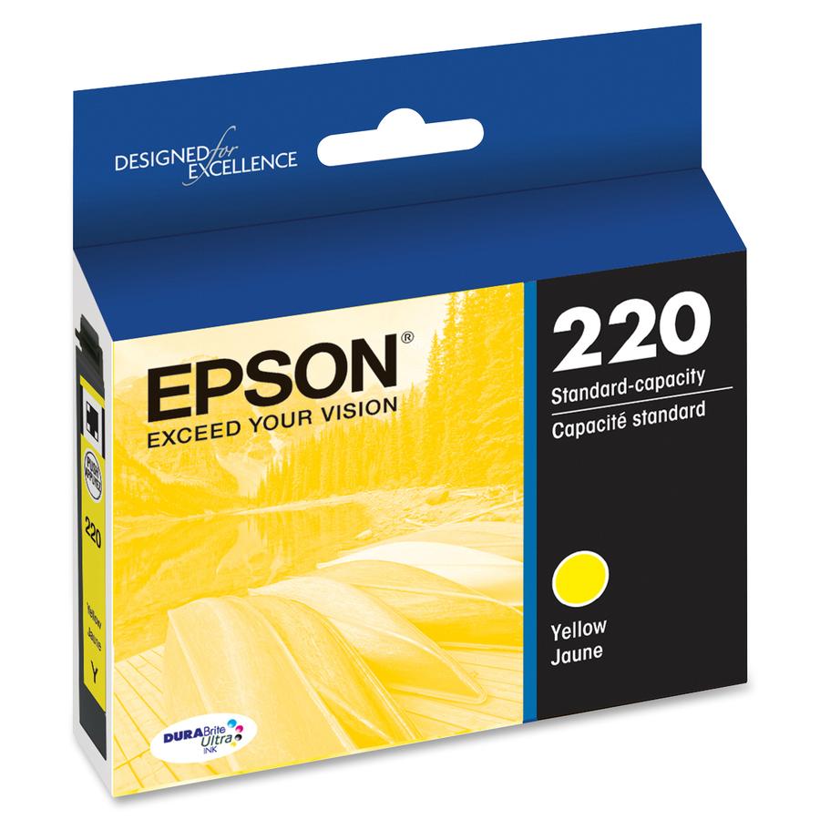 Epson DURABrite Ultra 220 Ink Cartridge - Yellow - Inkjet - Standard Yield  - 165 Pages - 1 Each