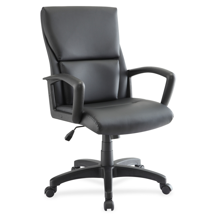 Marvelous Lorell Euro Design Leather Executive Mid Back Chair Bonded Leather Black Seat Bonded Leather Black Back 5 Star Base Black 20 Seat Width X Evergreenethics Interior Chair Design Evergreenethicsorg