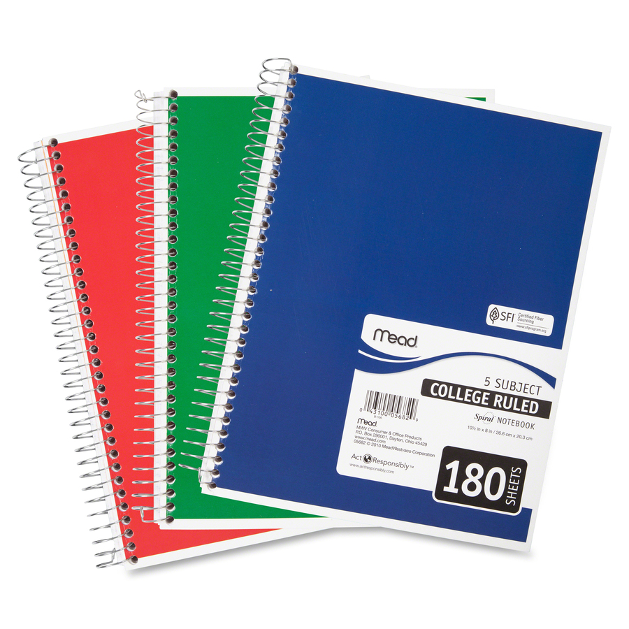 FREE SHIP-NEW 3 MEAD  FIVE STAR  3 SUBJECT NOTEBBOOKS  150 PAGES  COLLEGE