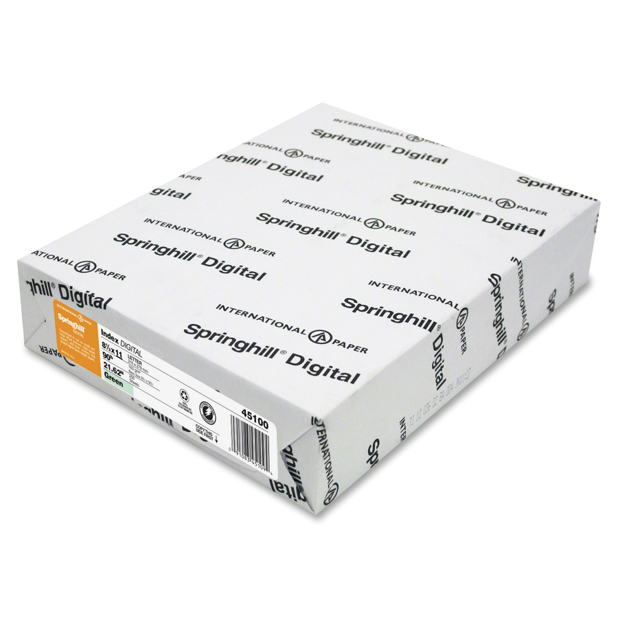 International Paper Company Springhill Inkjet, Laser Print Copy &  Multipurpose Paper - Letter - 8 1/2 X 11 - 90 Lb Basis Weight - Recycled -  10%