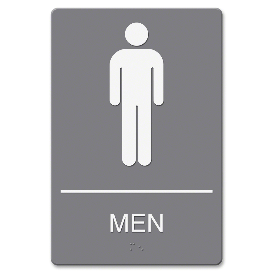 Security Hut Symbol: U.S. Stamp & Sign ADA Men's Restroom Sign W