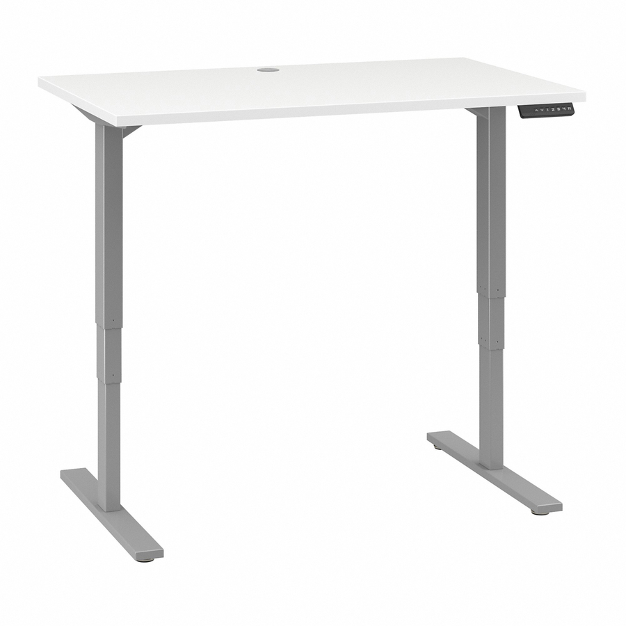 Bush Business Furniture 48w X 30d Height Adjule Standing Desk White Rectangle Top T Shaped Base 2 Legs 47 60 Table Width 29 37
