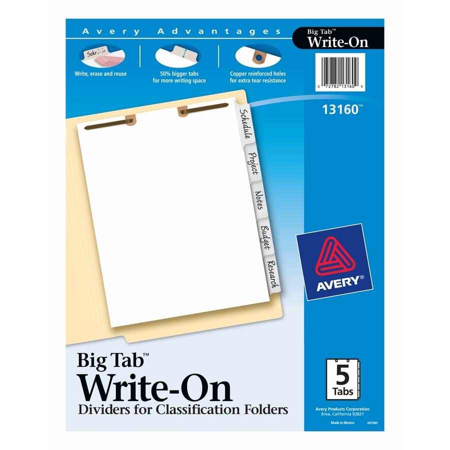 Amazon Com Avery Big Tab Write On Dividers 5 Tab Set 5 Set