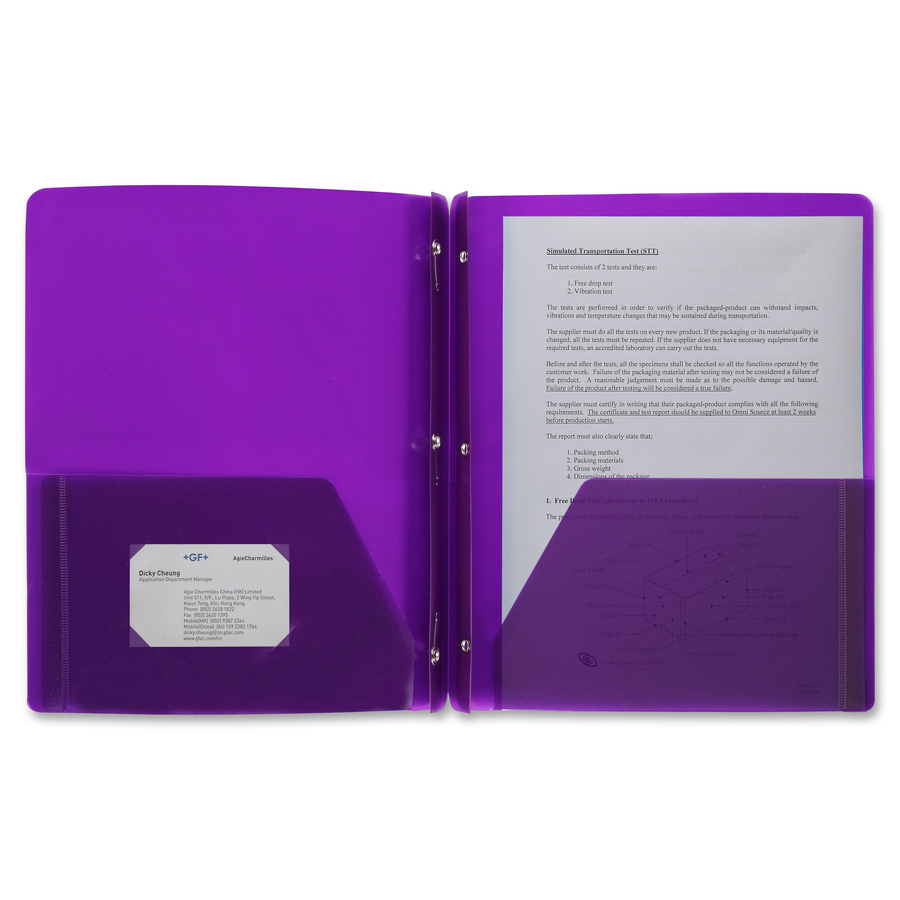 Business Source 3-Hole Punched Poly Portfolios - Letter - 8 1/2