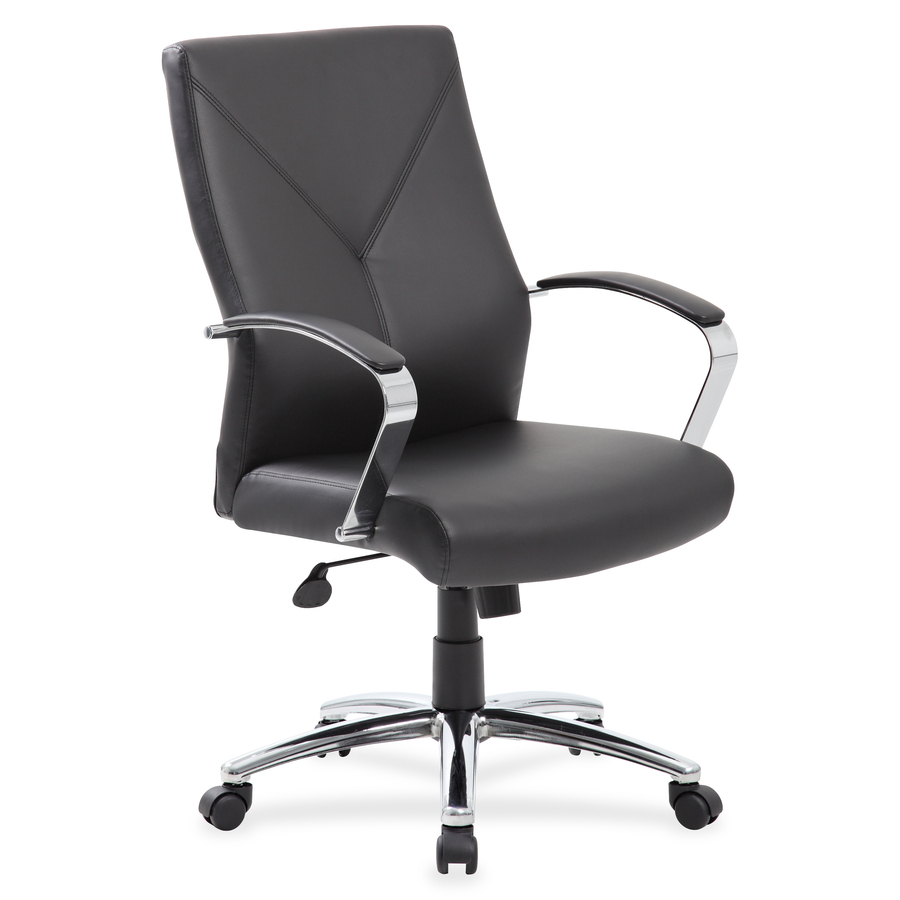 Boss Leatherplus Executive Chair With Chrome Accent Leather Seat Black