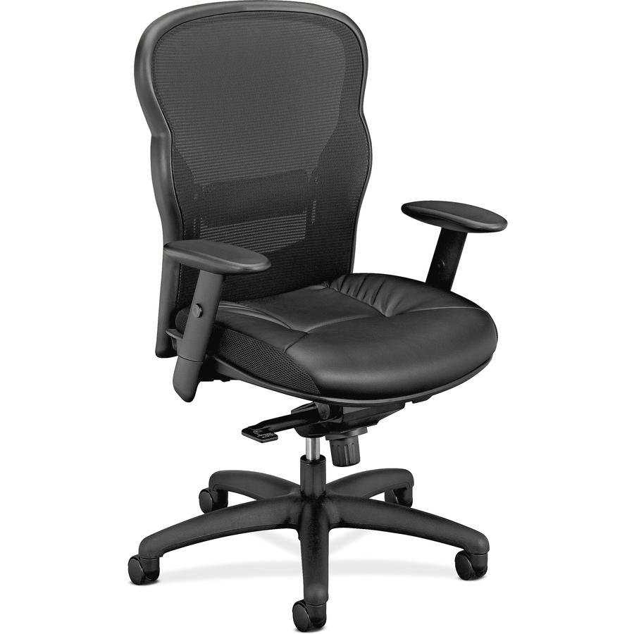 Admirable Hon Wave Mesh High Back Task Chair Leather Black Seat Black Back Black Frame 5 Star Base 22 Seat Width X 20 75 Seat Depth 27 5 Width X Dailytribune Chair Design For Home Dailytribuneorg