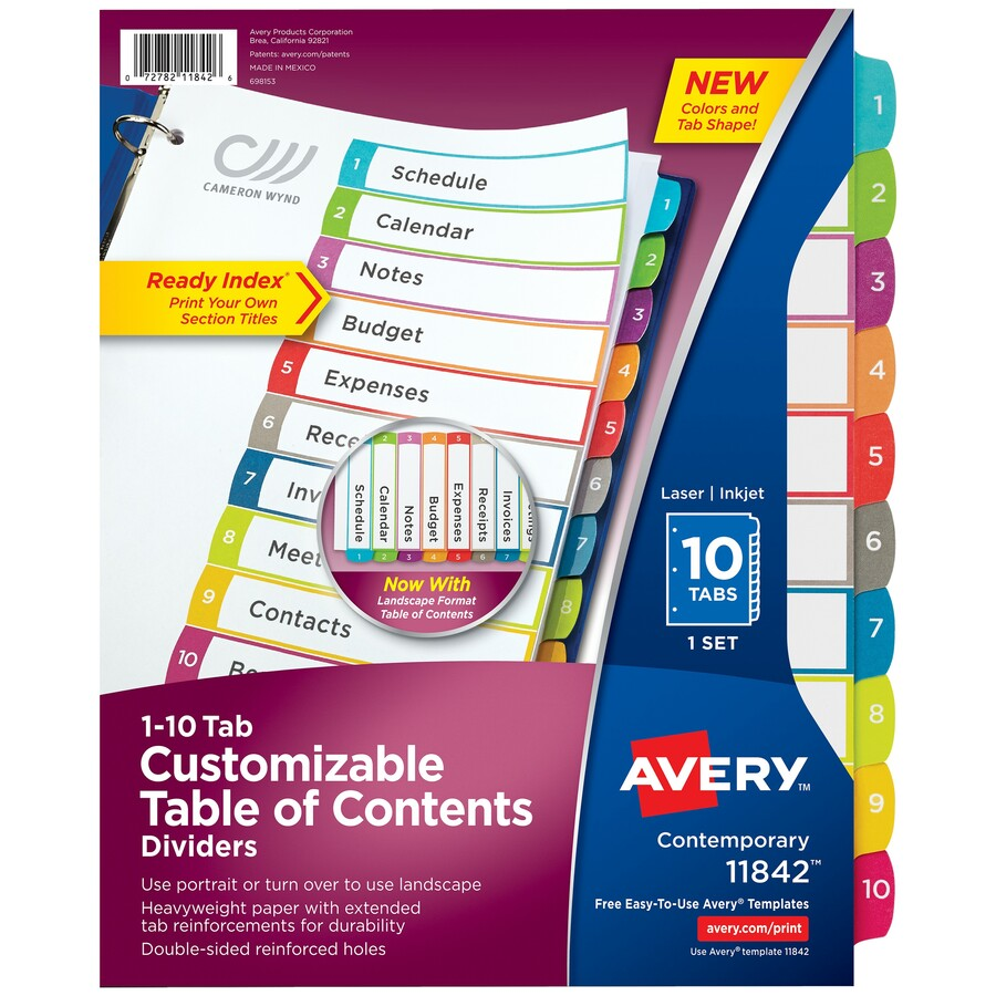 avery print on tabs template - avery ready index customizable table of contents