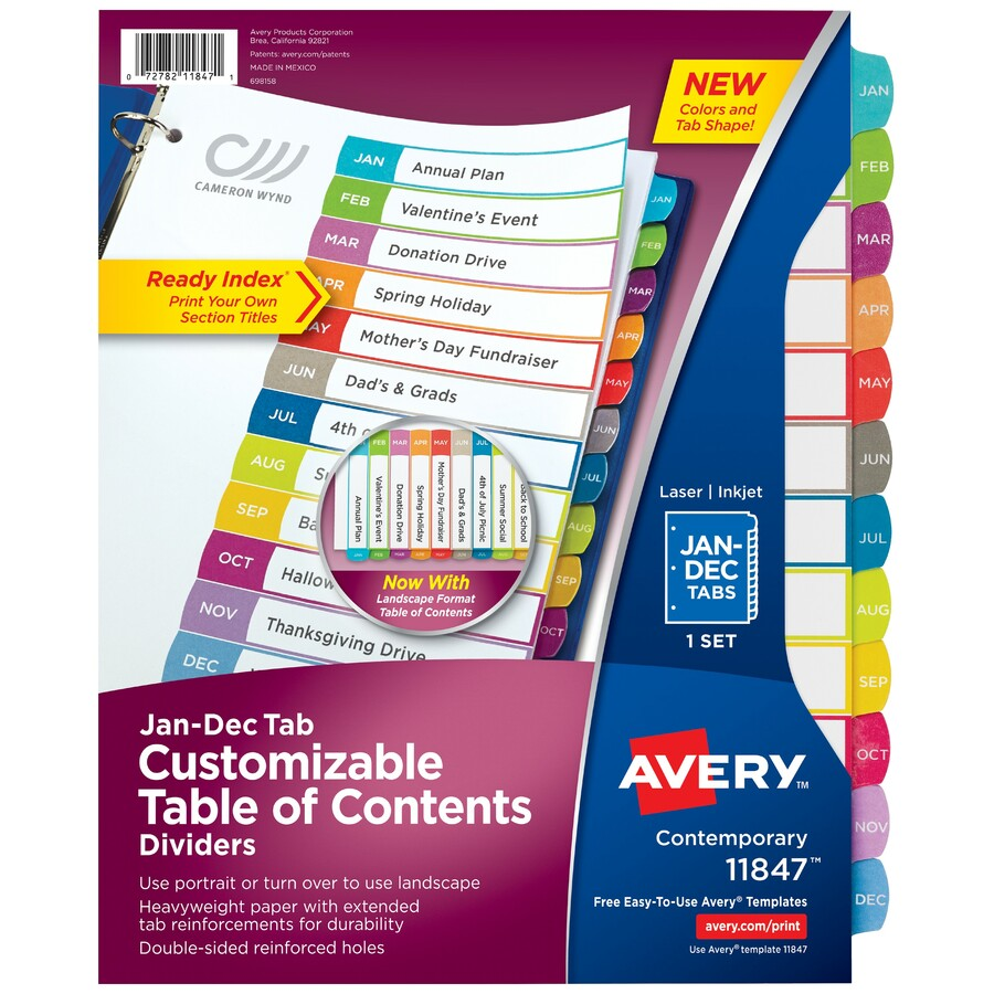 Avery ready index customizable table of contents for Avery index tabs template