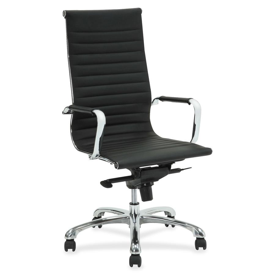 Terrific Lorell Modern Chair Series High Back Leather Chair Leather Seat Leather Back 5 Star Base Black 20 Seat Width X 18 75 Seat Depth 25 Dailytribune Chair Design For Home Dailytribuneorg
