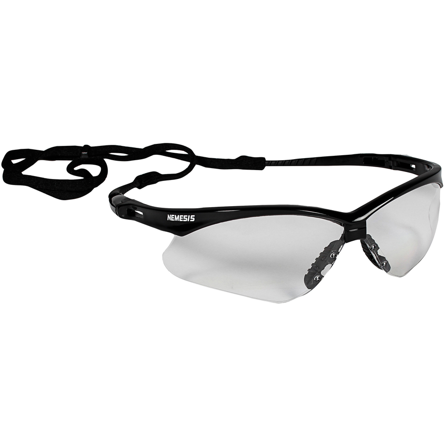 KleenGuard V30 Nemesis Safety Eyewear - Flexible, Lightweight, Comfortable, Scratch Resistant - Ultraviolet Protection - Polycarbonate Lens - Clear, Black - 12 / Carton