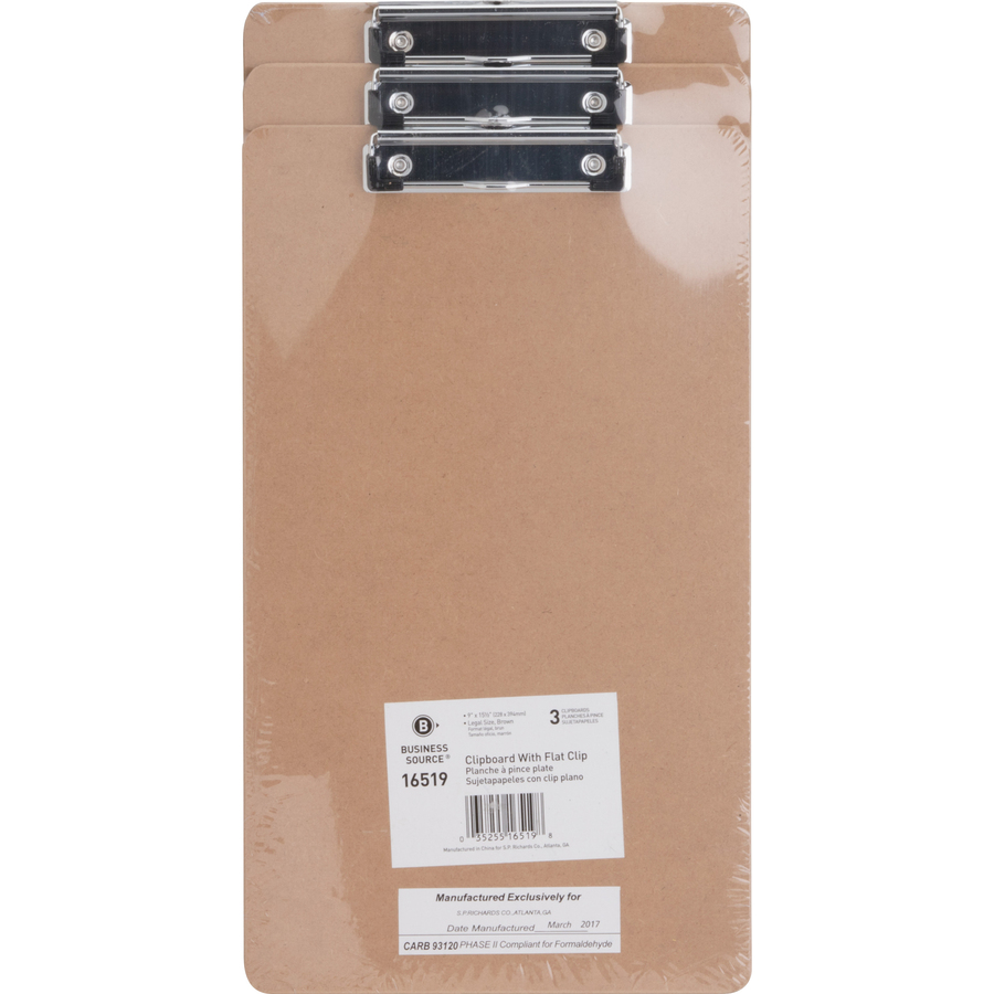 Business Source Flat Clip Smoke Plastic Clipboard
