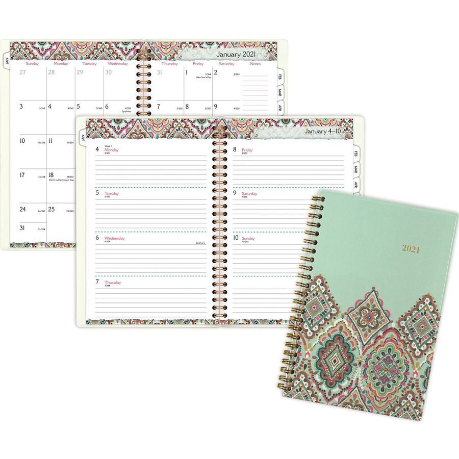 At-A-Glance Marrakesh Weekly/Monthly Planner - Yes - Monthly, Weekly, Daily - 1 Year - January 2020 till December 2020 - 1 Week Double Page Layout - 4 7/8