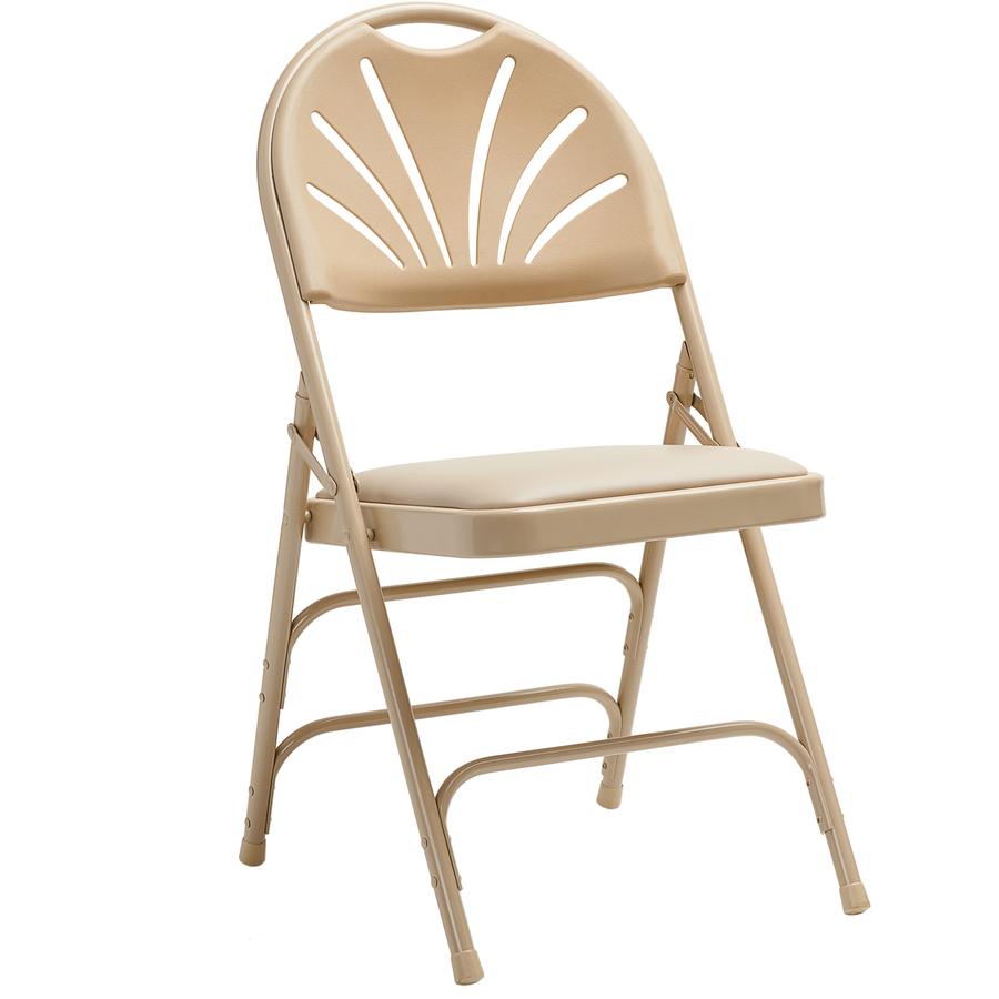 vinyl folding chairs. Samsonite 3000 Series Commercial Grade Fanback Steel \u0026 Vinyl Folding Chair Neutral Seat - Polypropylene Back Powder Coated Frame Chairs F