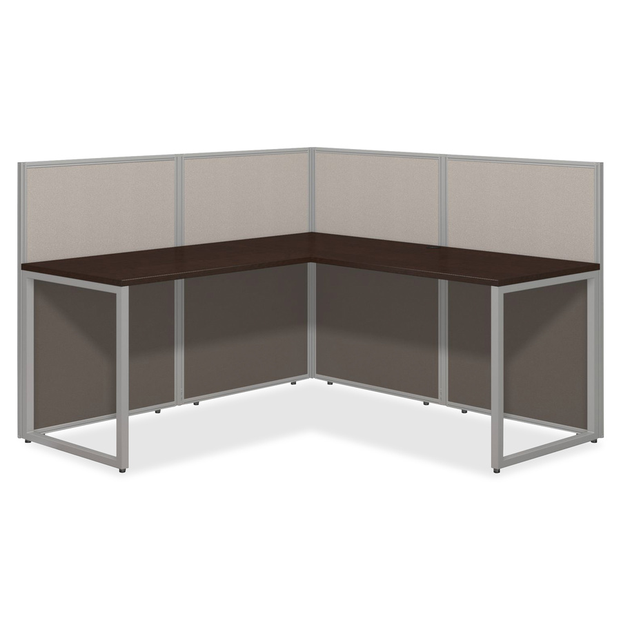 B 60w L Desk Open Office Shaped Top Assembly Required Light Gray Storm Fabric