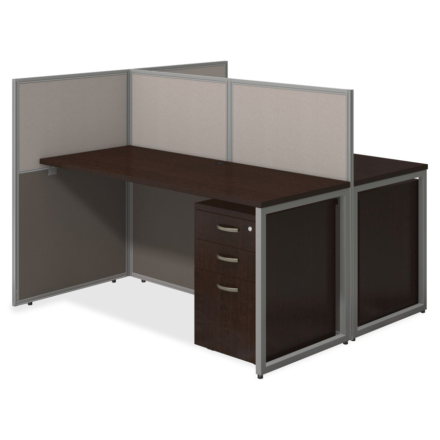 Bush business furniture 60w 2 person straight desk open office with 3 drawer mobile pedestals - Bush desk assembly instructions ...