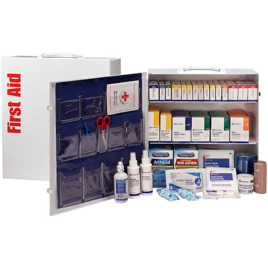 First Aid Only 3-Shelf First Aid Cabinet with Medications - ANSI Compliant  - 675 x Piece(s) For 100 x Individual(s) - 15 5 Height x 17 Width x 5 8