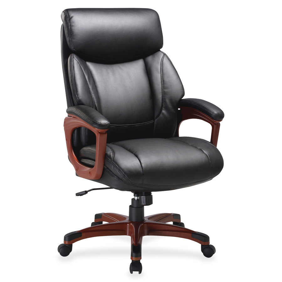 Excellent Lorell Executive Chair Bonded Leather Black Seat Black Back Cherry 31 8 Width X 28 Depth X 45 5 Height Evergreenethics Interior Chair Design Evergreenethicsorg