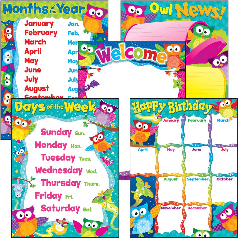 Trend Prek 3 Owl Stars Basic Learning Charts Combo