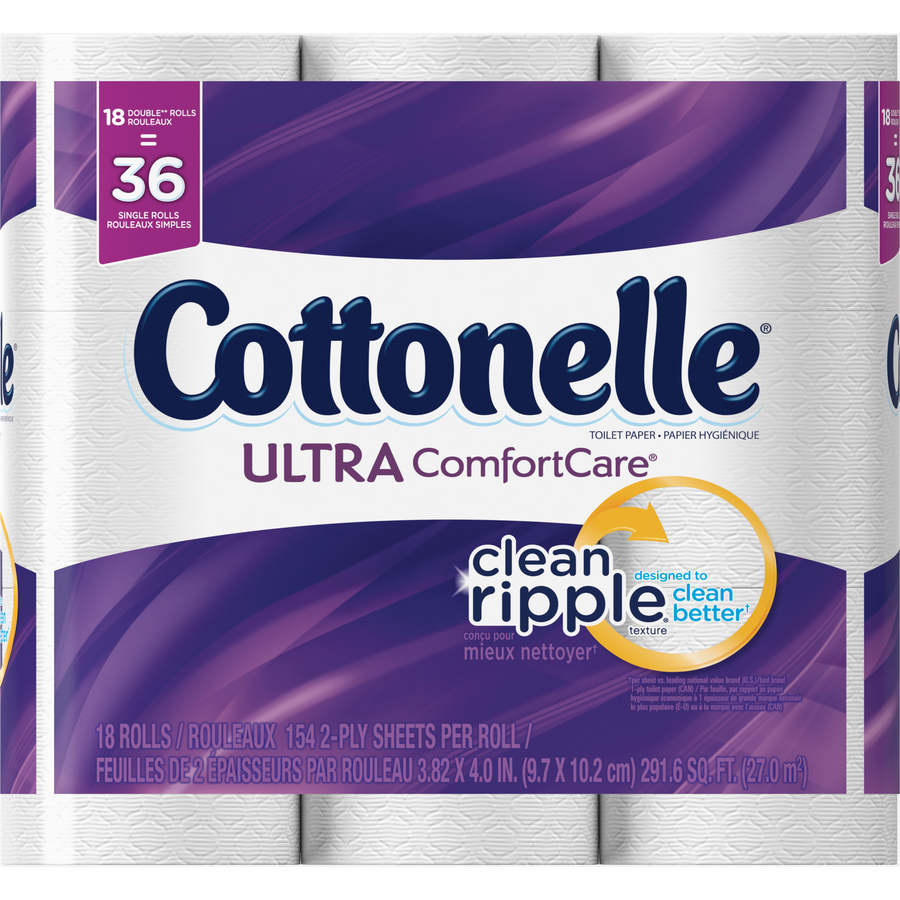 Cottonelle Ultra Comfort Bath Tissue 2 Ply 154 Sheets Roll White Soft Absorbent Textured Sewer Safe Septic Free For Toilet 18 Pack