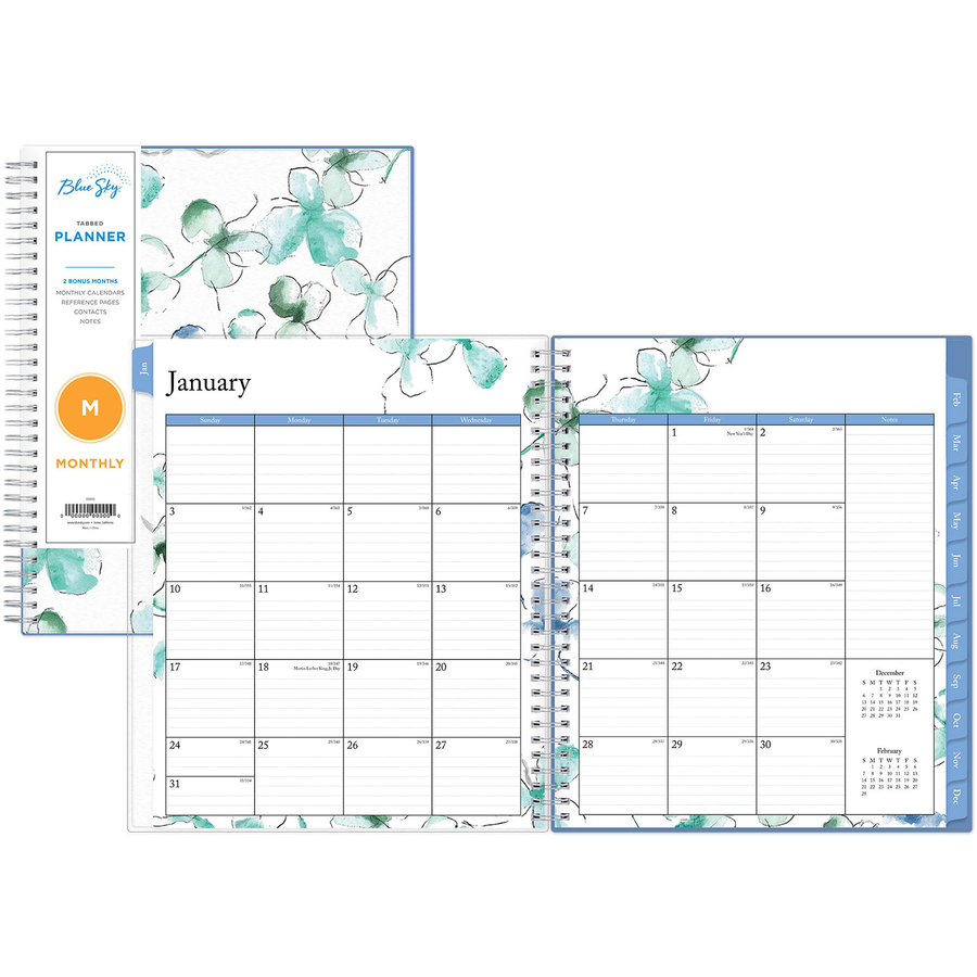 Blue Sky The Color Of Imagination, Llc Blue Sky Lindly Monthly Planner - Yes - Monthly, Weekly - 1 Year - January Till December - 1 Week Double Page Layout - 8 X 10 - Wire Bound - Multi - Durable, Double-sided