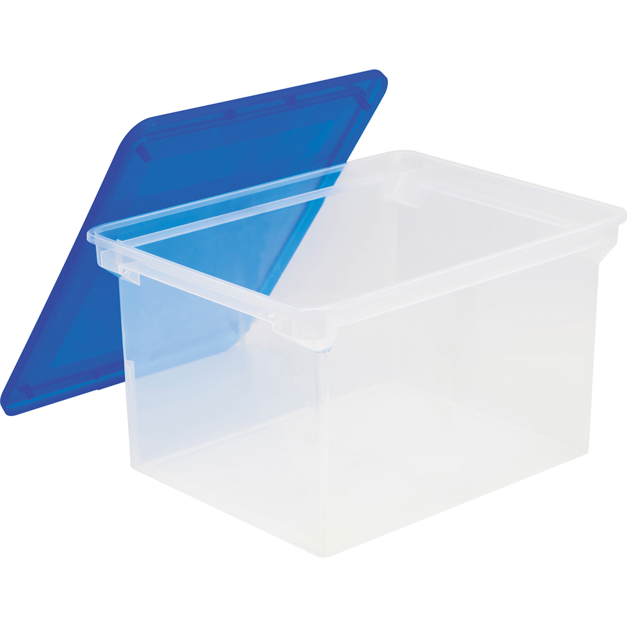 Storex Plastic File Tote Storage Box Media Size Supported: Legal, Letter    Plastic   Clear Blue   For Document, File   1 Each