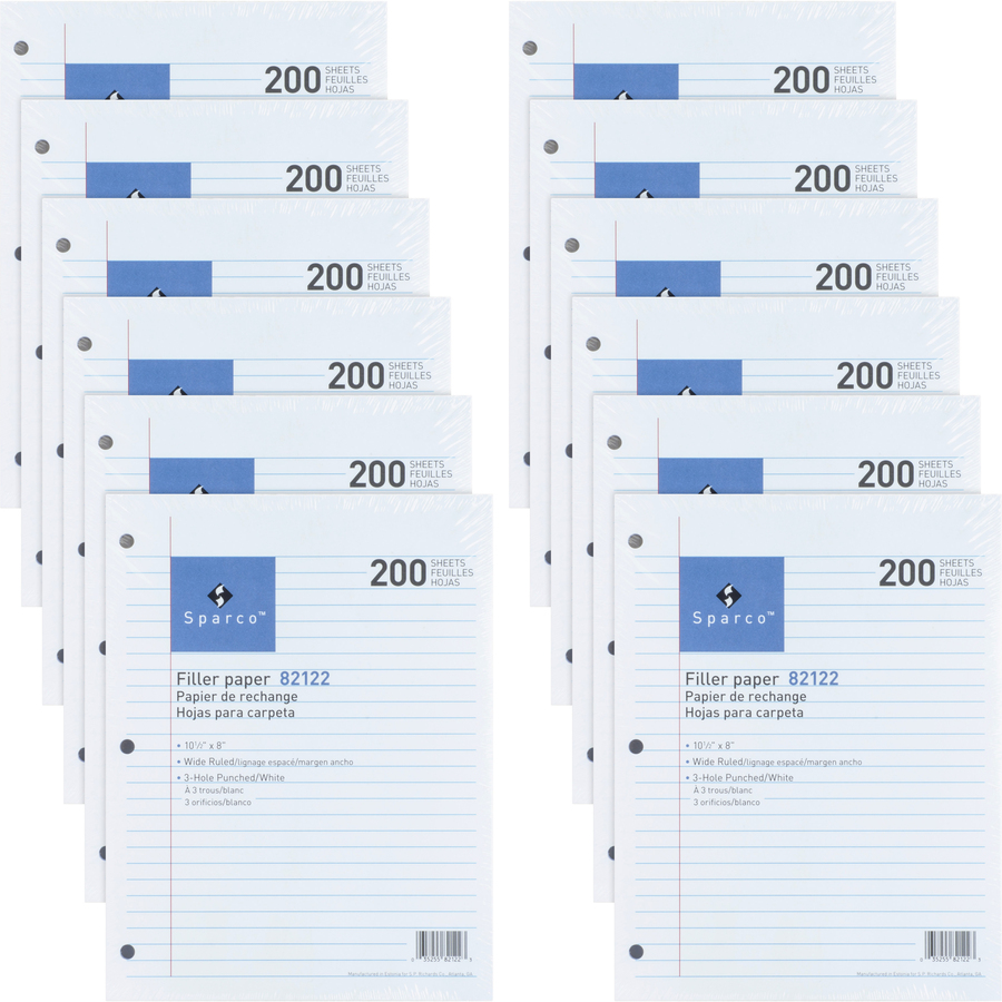 Sparco 3HP Notebook Filler Paper - 1800 Sheets - Wide Ruled