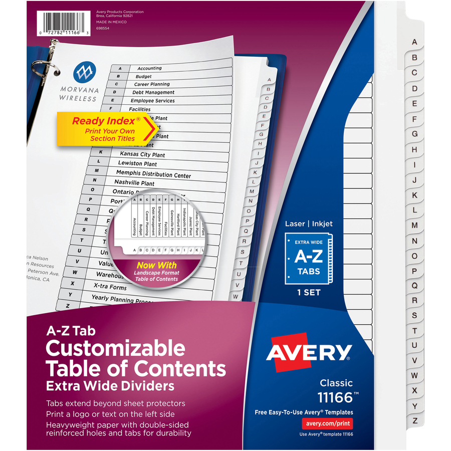 avery table of contents template 10 tab - avery extra wide a z tabs ready index dividers ave 11166