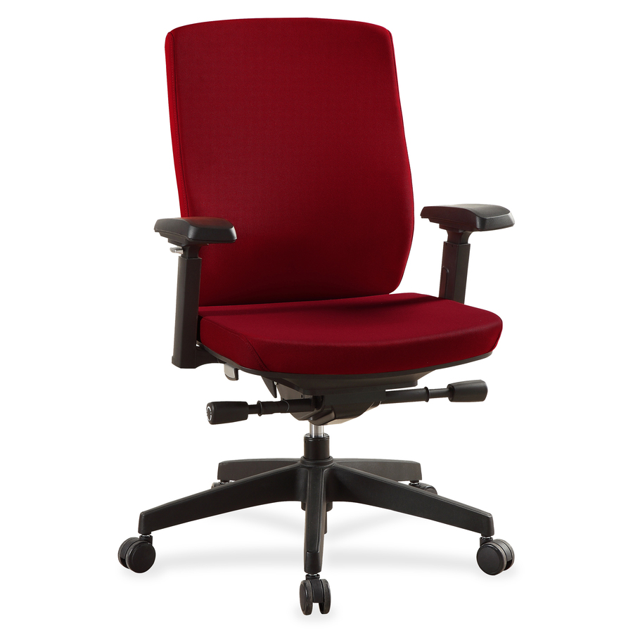 Lorell Mid Back Chairs With Adjule Arms Fabric Red Seat 5 Star Base 20 25 Width 27 X 26 Depth 43 Height
