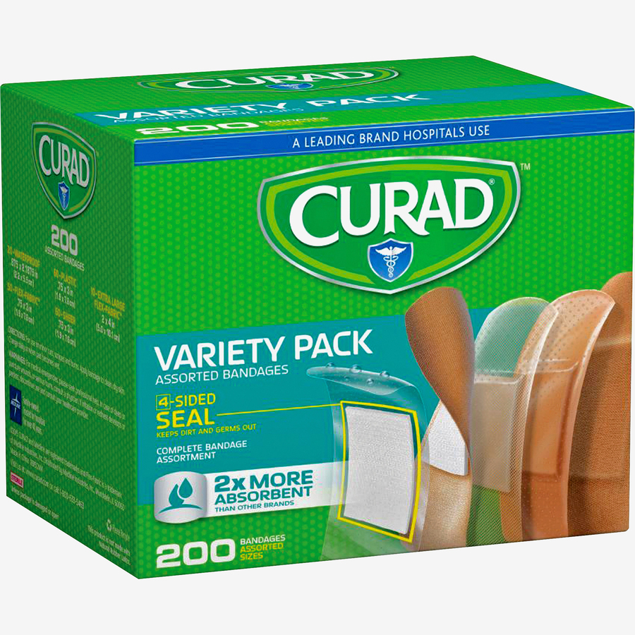 Medline Industries, Inc Curad Variety Pack 4-sided Seal Bandages - 200/box  - Assorted - Fabric, Plastic