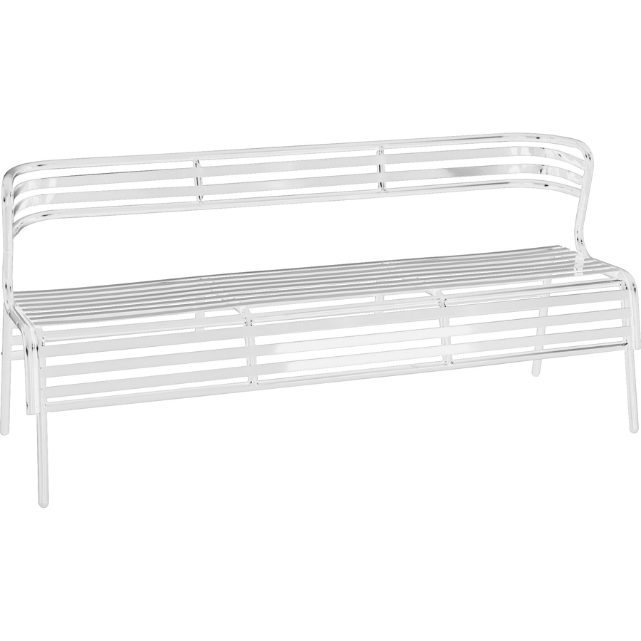 Enjoyable Safco Products Safco Cogo Indoor Outdoor Steel Bench With Back White Steel 61 Seat Width X 17 Seat Depth 60 Width X 25 Depth X 30 Height Evergreenethics Interior Chair Design Evergreenethicsorg