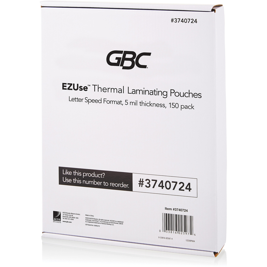 "Letter 8.50/"" Width x 11/"" GBC EZUse Lamination Pouches Sheet Size Supported"