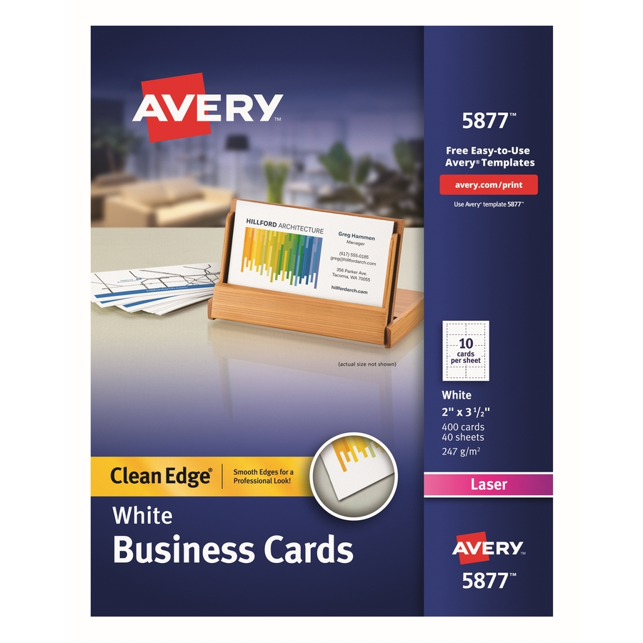 Avery Clean Edge Laser Print Business Card Ave 5877