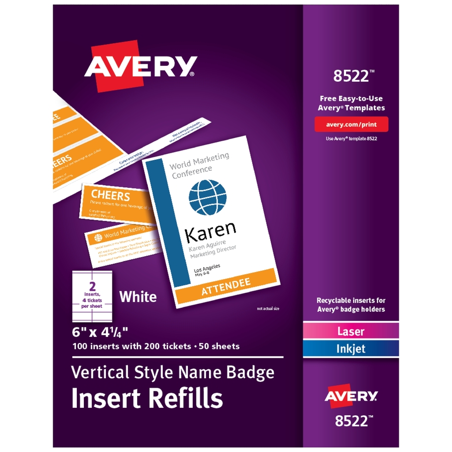 avery vertical name badge ticket inserts icc business products