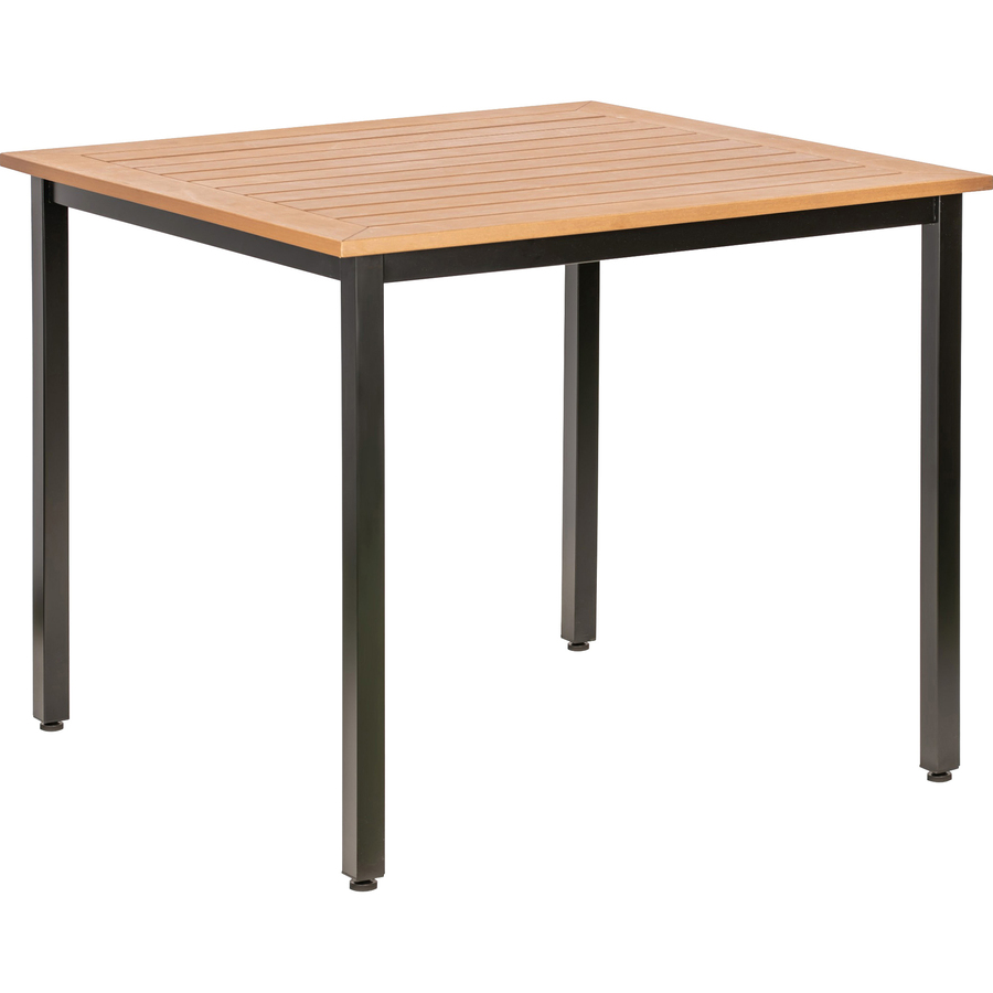 Lorell Teak Outdoor Table Teak Square Top Four Leg Base 4 Legs 36 60 Table Top Length X 36 60 Table Top Width 30 75 Height Assembly