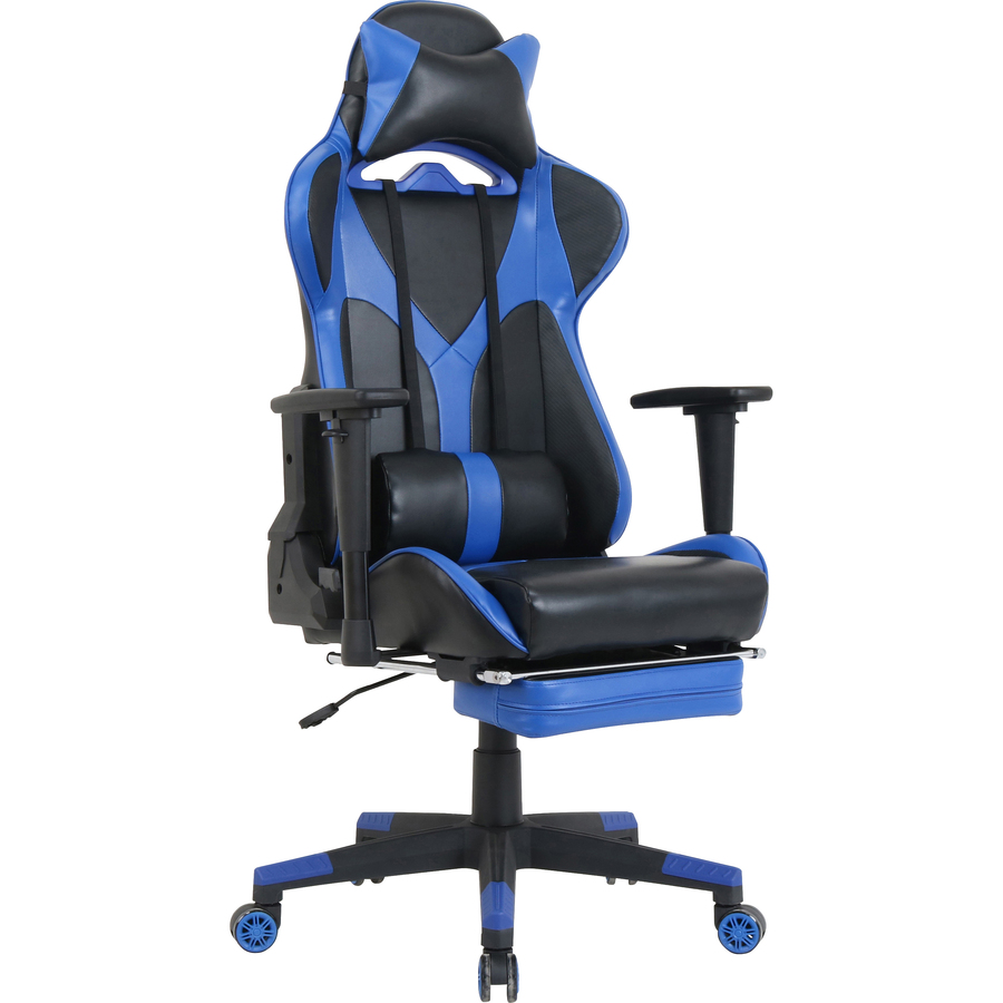 Groovy Lorell Foldable Footrest High Back Gaming Chair Blue Black Seat Blue Black Back 5 Star Base 44 6 Length X 20 9 Width X 52 Height Bralicious Painted Fabric Chair Ideas Braliciousco