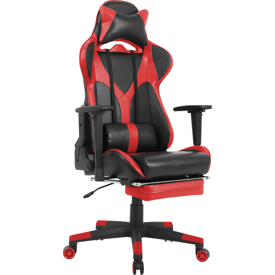 Enjoyable Lorell Foldable Footrest High Back Gaming Chair Red Black Seat Red Black Back 5 Star Base 44 6 Length X 20 9 Width X 52 Height Dailytribune Chair Design For Home Dailytribuneorg