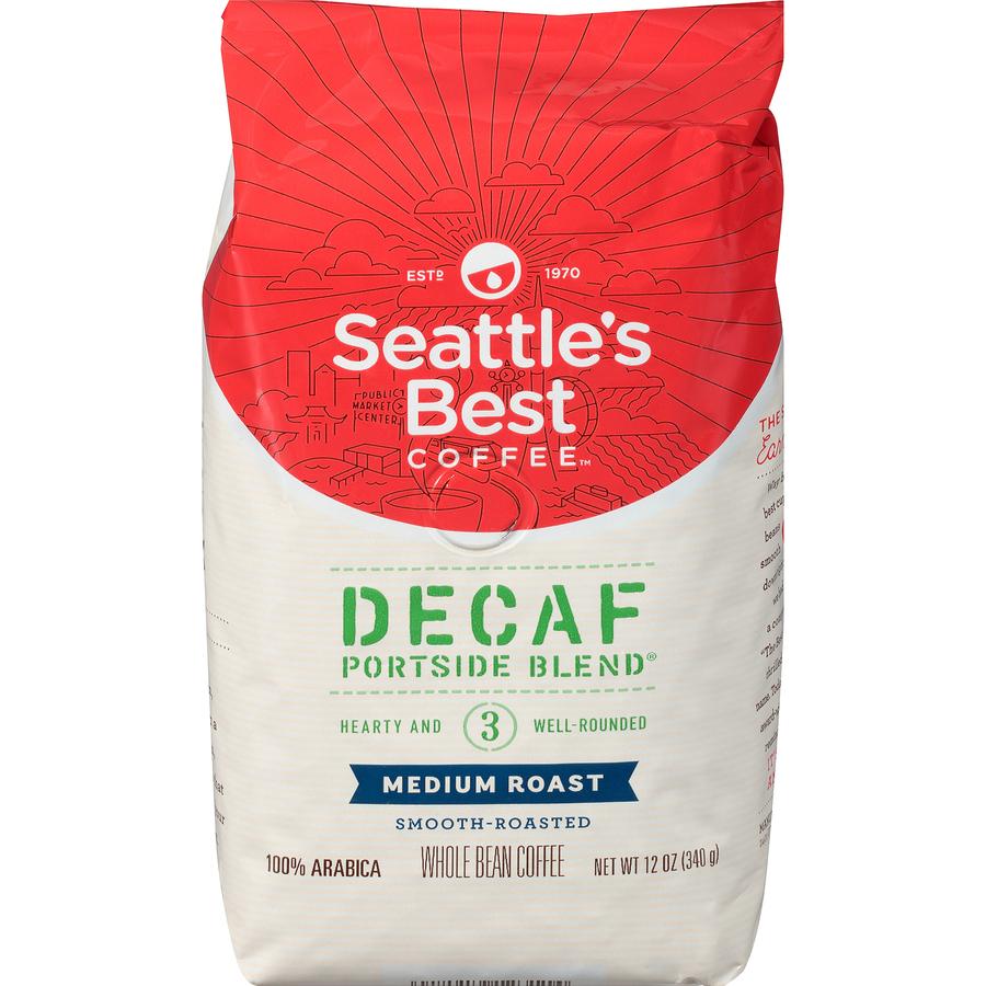 Starbucks Corporation Seattles Best Coffee Portside Blend Decaf Whole Bean  Coffee - Level 3 - Decaffeinated - Signature Blend - 12 Oz Per Bag - 1 Each