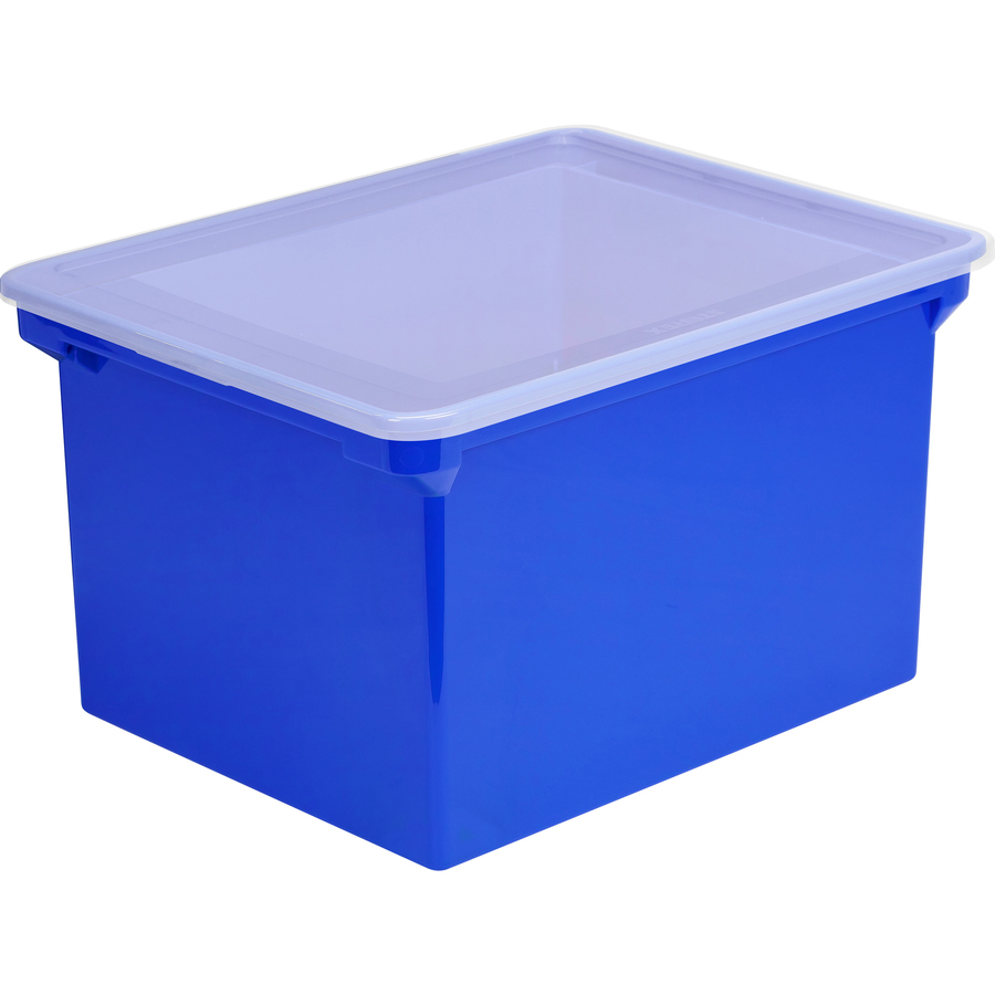 Storex Locking Lid Tote Storage Box - External Dimensions: 19