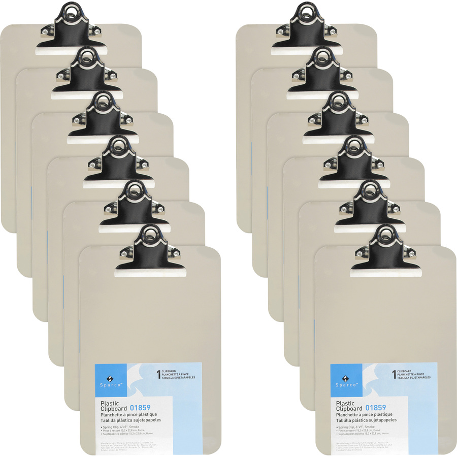 12 Business Source Spring Clip Plastic Clipboard