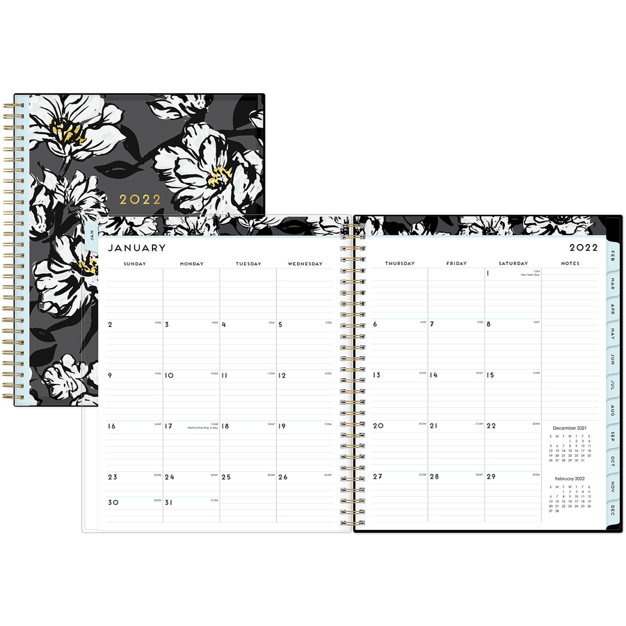 Blue Sky Baccara DarkFloral Design Monthly Planner - Yes - Monthly - 1 Year  - January till December - 1 Month Double Page Layout - 8