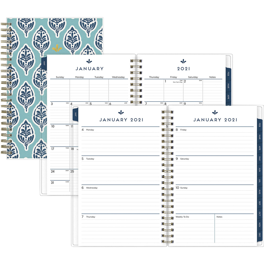 Blue Sky Sullana Design Weekly/Monthly Planner - Yes - Monthly, Weekly - 1 Year - January till December - 1 Week, 1 Month Double Page Layout - 5