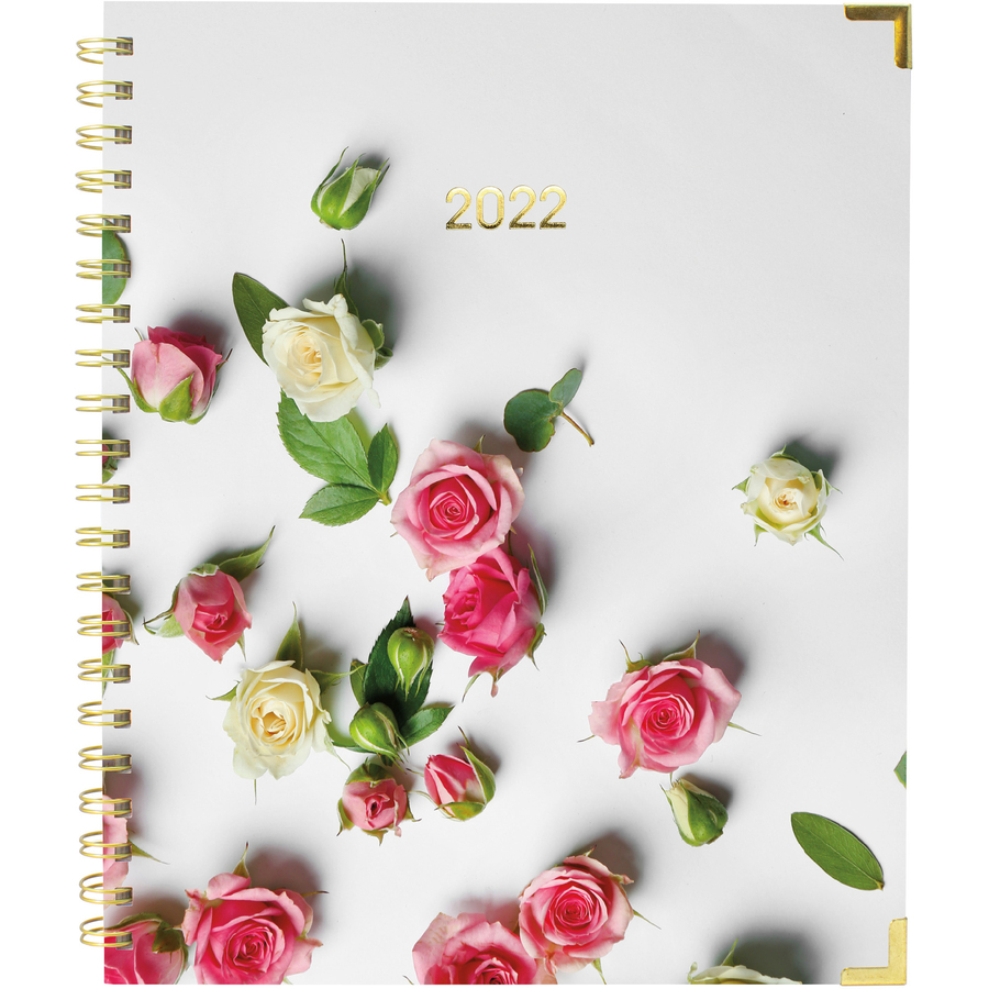 Rediform Romantic Roses Weekly/Monthly Planner - Yes - Weekly, Monthly - 1 Year - January till December - 1 Week, 1 Month Double Page Layout - Twin Wire - Floral - Fiber - Laminated Tab, Storage Pocket, Holiday Listing, Reference Calendar, Event Planning