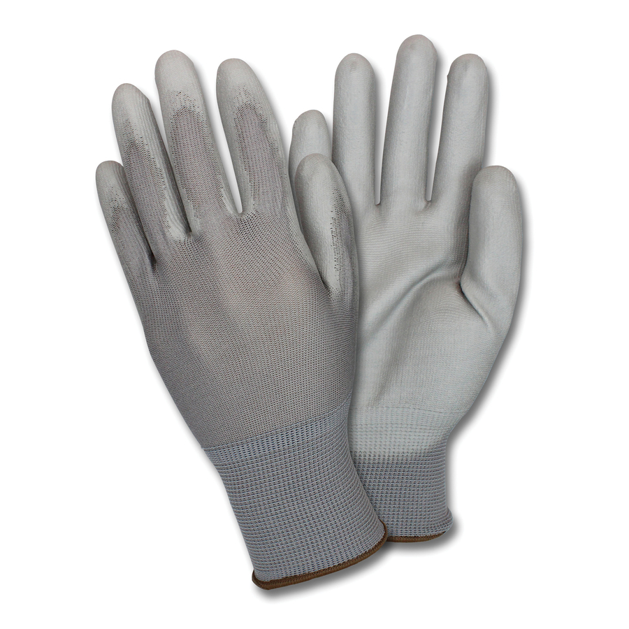 Safety Zone Poly Coated Knit Gloves - Polyurethane Coating - Large Size - Nylon - Gray - Flexible, Comfortable, Breathable, Knitted - For Industrial - 12 / Dozen