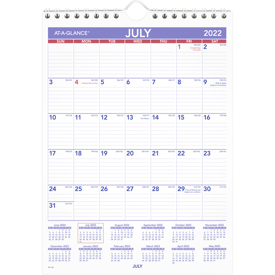 At-A-Glance Academic Monthly Wall Calendar - Small Size - Academic/Professional - Monthly - 1 Year - July 2020 till June 2021 - 1 Month Single Page Layout - 8