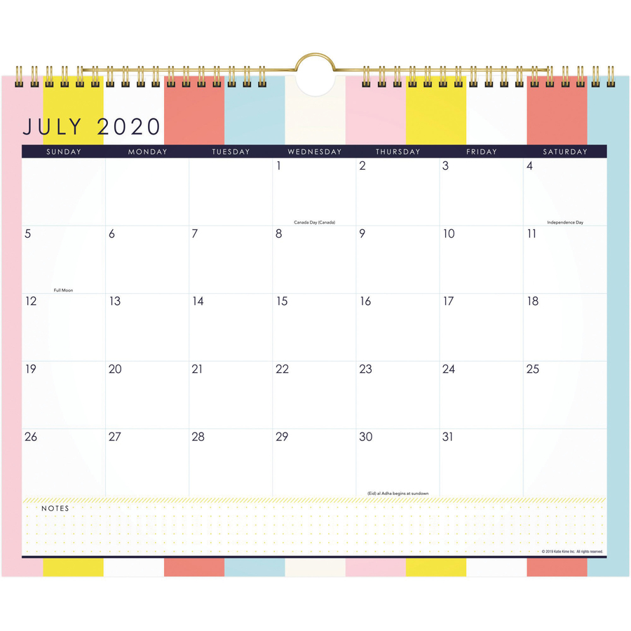 At-A-Glance Katie Kime Stripes Wall Calendar - Academic - Monthly - 1 Year - July 2020 till June 2021 - 1 Month Single Page Layout - 15