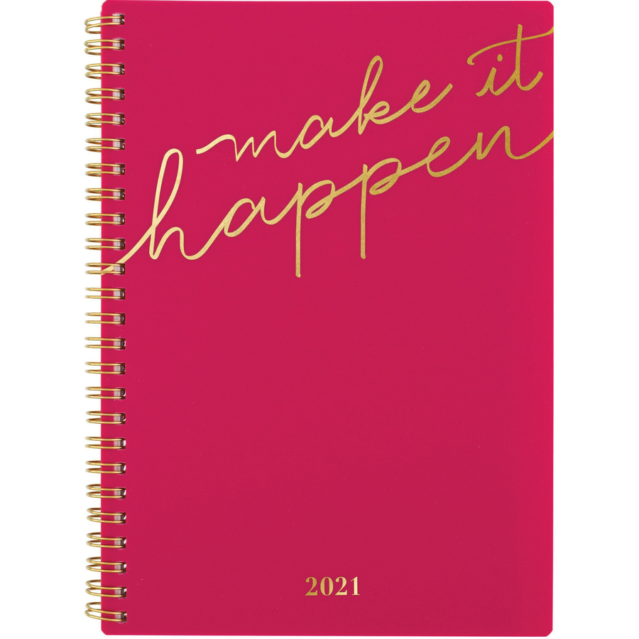 At-A-Glance Make It Happen Weekly/Monthly Planner - Weekly, Monthly - 1 Year - January till December - 1 Week Double Page Layout - Twin Wire - Pink, Gold - Poly - Reminder Section, Unruled Daily Block, Tabbed, Notes Area, Contact Sheet, Double-sided Pocke