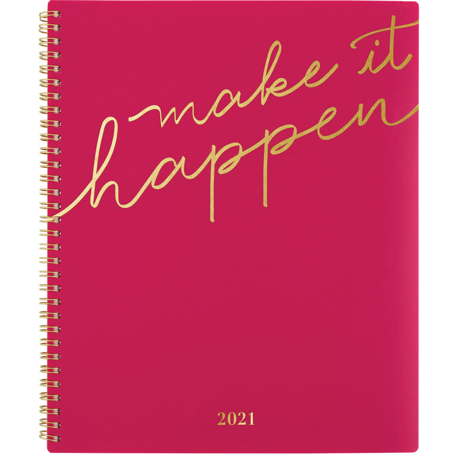 At-A-Glance Make It Happen Weekly/Monthly Planner - Weekly, Monthly - 1 Year - January till December - 1 Week Double Page Layout - Twin Wire - Pink, Gold - Reminder Section, Unruled Daily Block, Tabbed, Notes Area, Contact Sheet, Double-sided Pocket, Dura