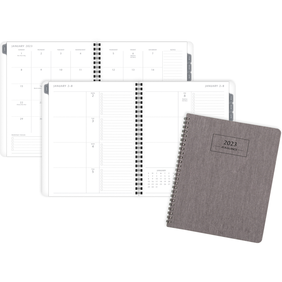 At-A-Glance Elevation Weekly/Monthly Planner - Medium Size - Monthly, Weekly - 1 Year - January 2021 till December 2021 - White Sheet - Twin Wire - Paper - Gray - Durable Cover, Sturdy, Bleed Resistant Paper, Tear Resistant, Wear Resistant, Non-refillable